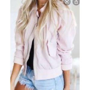 Free People Pale Pink Bomber Jacket